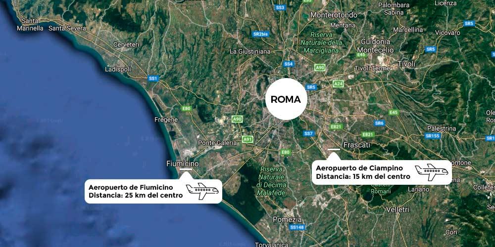 Mapa aeropuertos Roma