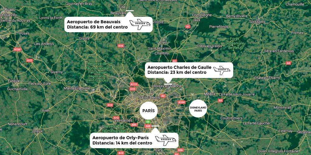 aeropuertos de paris mapa