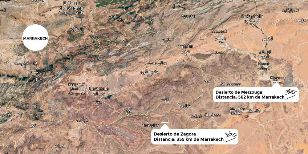 Mapa desiertos Marrakech Marruecos