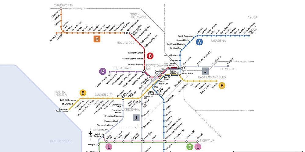 Mapa del metro de Los ángeles.