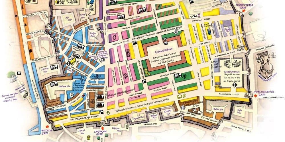 con el mapa del Gran Bazar puedes pensar que hacer o que ver durante tu visita