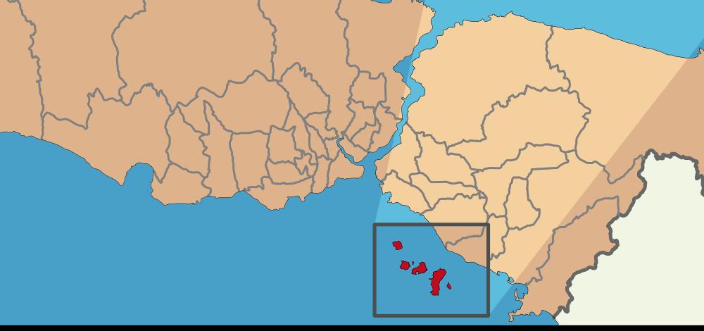 Mapa de Islas Príncipe cerca de Estambul
