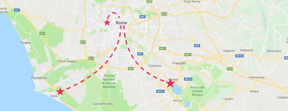 Mapa del centro de Italia con las mejores excursiones desde Roma señaladas: Ciudad del Vaticano, Castel Gandolfo y Ostia Antica