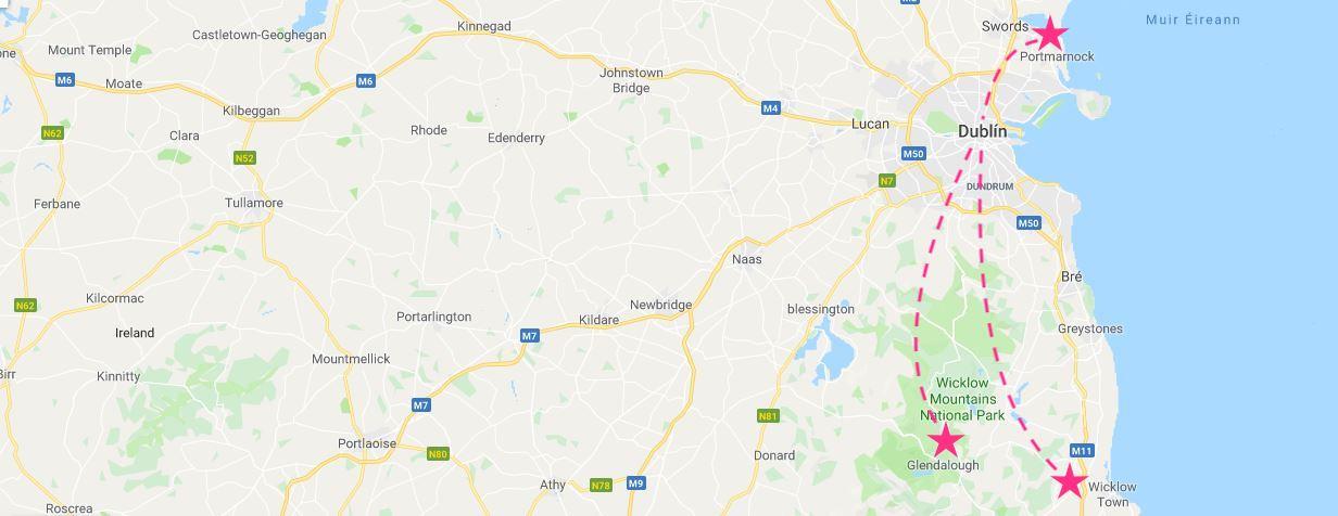 Mapa de excursiones cerca de Dublín
