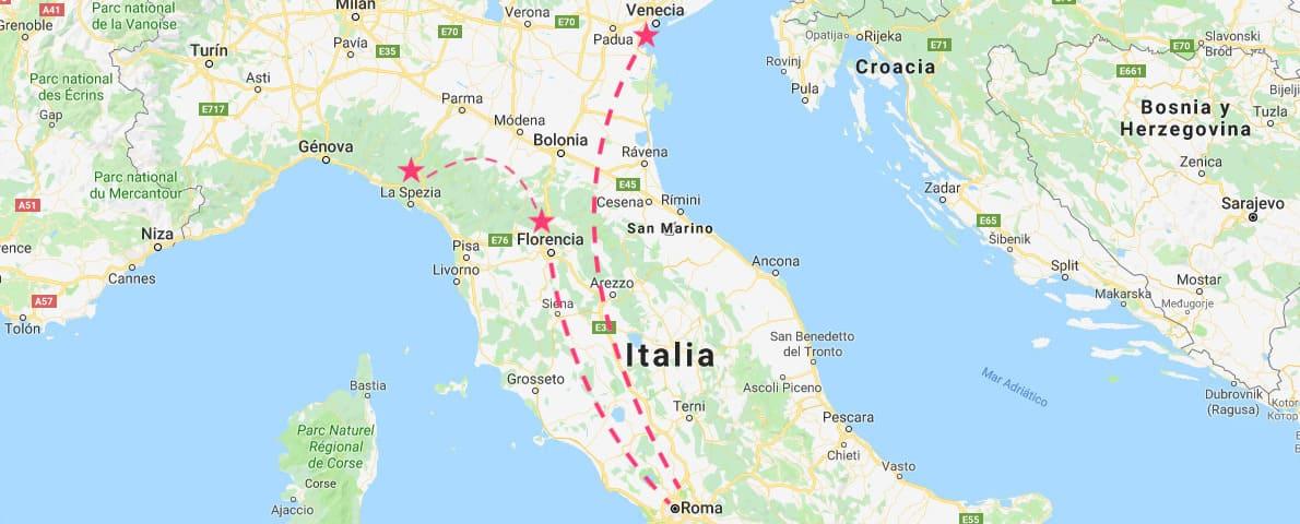 Mapa del Norte de Italia con los principales destinos de las excursiones desde Roma: Venecia, Florencia y Cinque Terre.