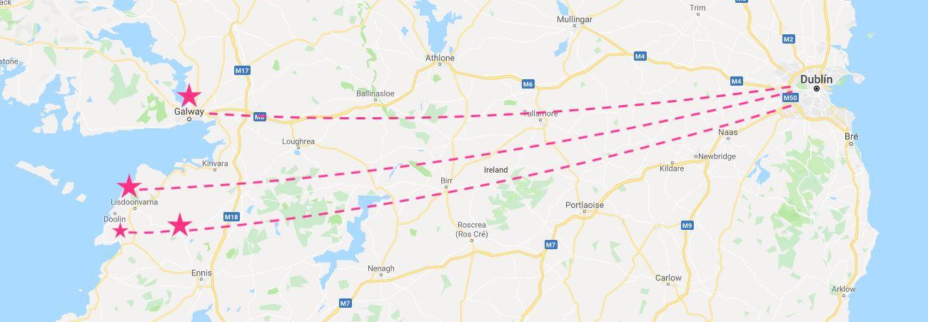 Mapa de excursiones al oeste de Irlanda