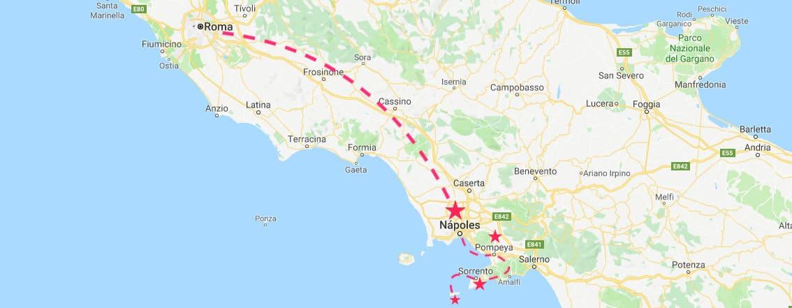 Mapa del sur de Italia con las mejores excursiones desde Roma: Nápoles, Pompeya, Sorrento y Capri.