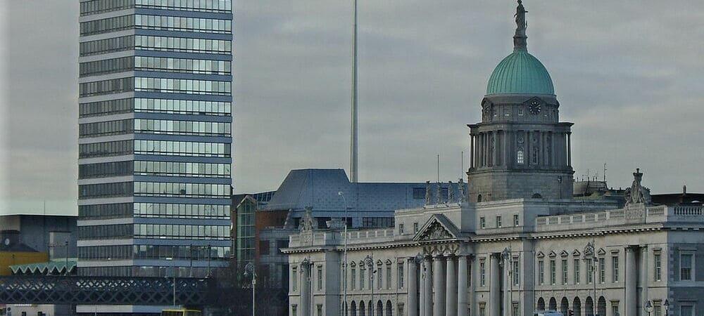 Vista aérea del Liberty Hall en el norte de Dublín.