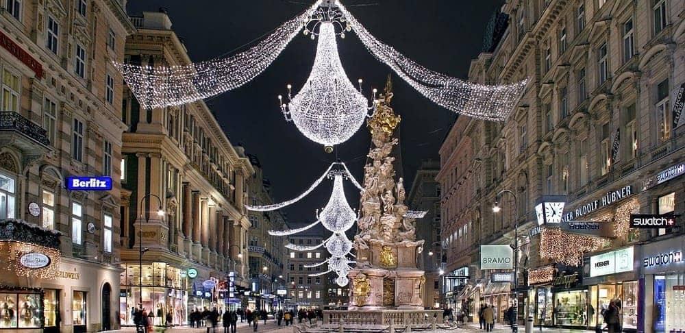 La ciudad de Viena durante Navidad