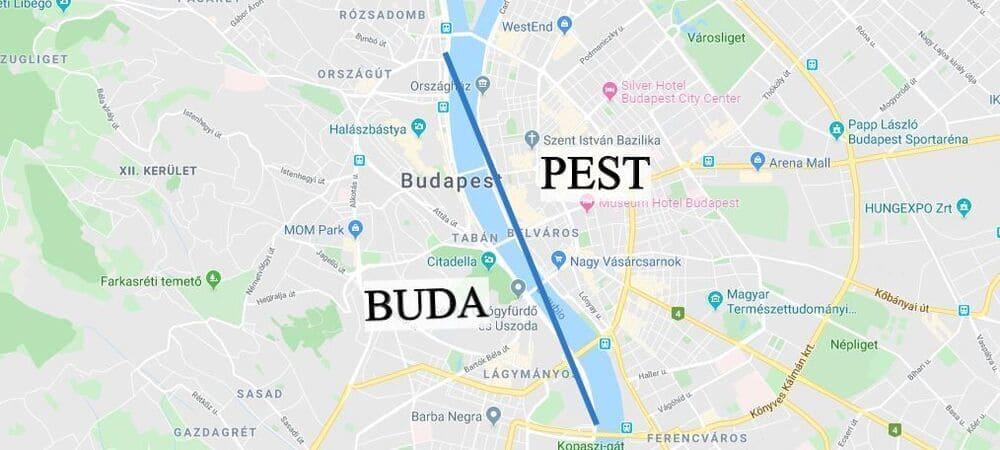 División entre Buda y Pest en un mapa para ver Budapest en 3 días