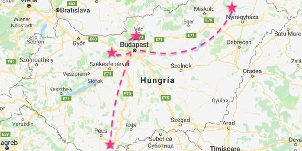 Mapa de lugares de Hungría a los que hacer una excursión desde Budapest