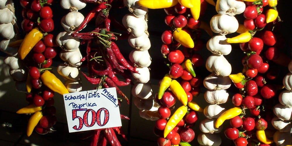 Pimiento paprika en un puesto del Mercado Central de Budapest.