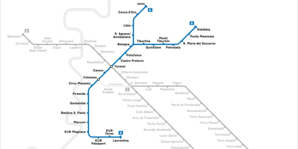 Mapa de las líneas de metro de Roma, destaca la línea B y cómo llegar al Coliseo Romano con ella.
