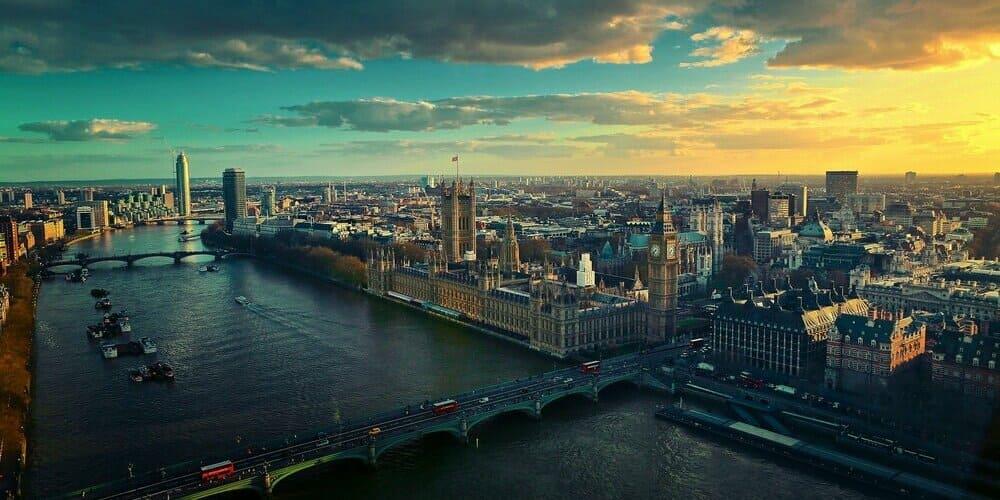 Imagen aérea de la ciudad de Londres.