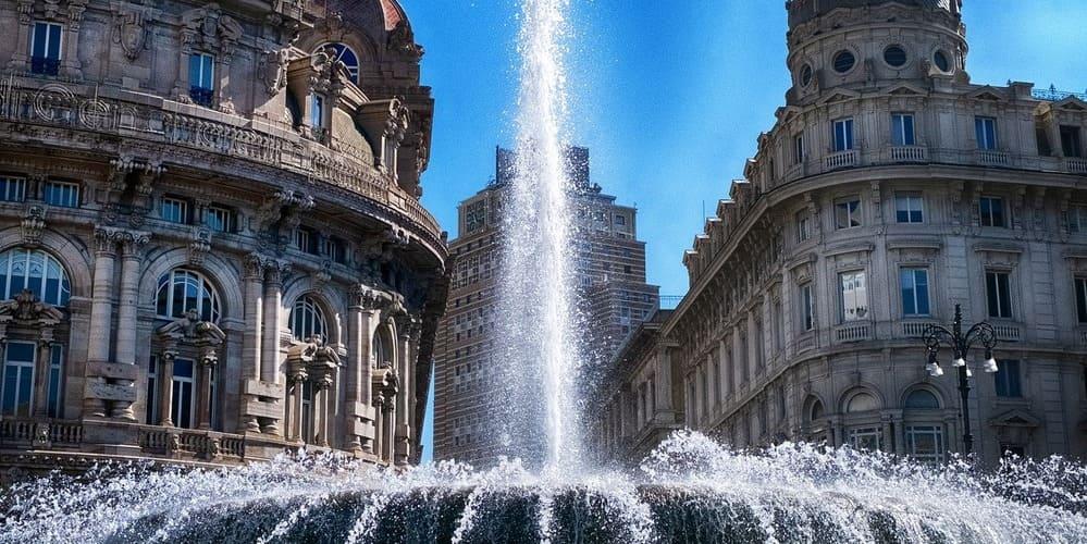Fotografía de una de las fuentes de Génova.