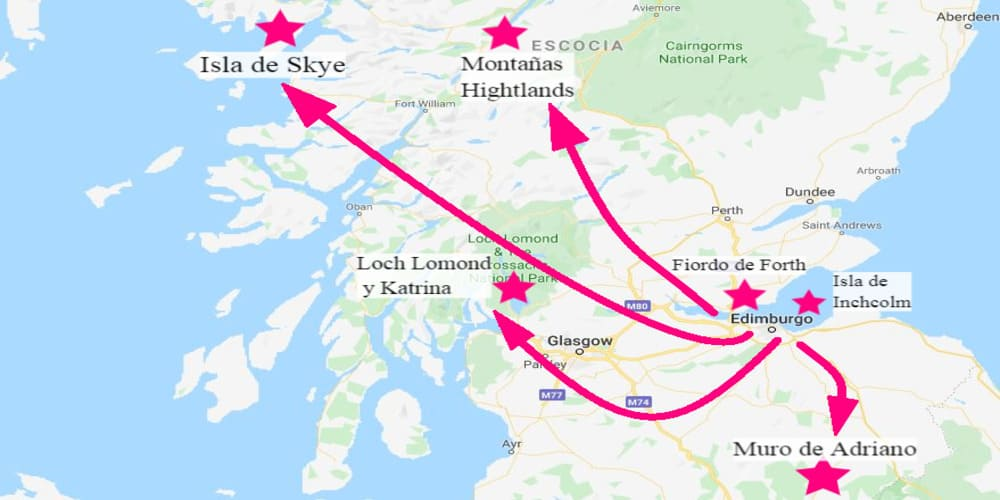 Mapa con las excursiones desde Edimburgo que puedes hacer a parques naturales.