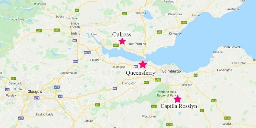 Mapa de las excursiones desde Edimburgo a los diferentes escenarios de series y películas.
