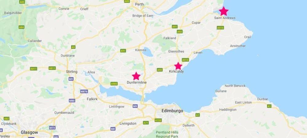 Mapa de los pueblos costeros que se pueden visitar desde Edimburgo.