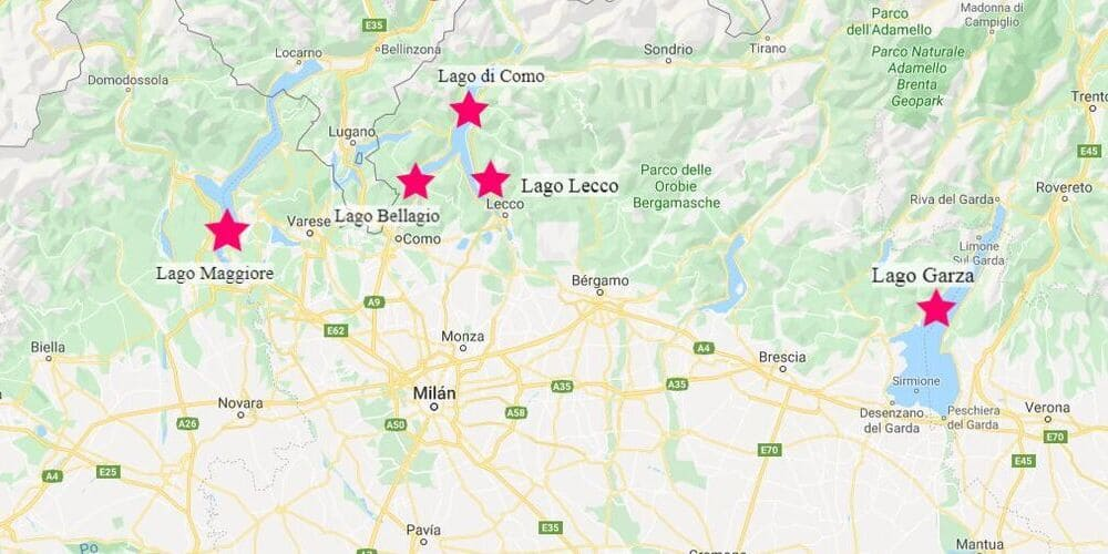 Mapa de las excursiones desde Milán que puedes hacer a los lagos cercanos a la región.