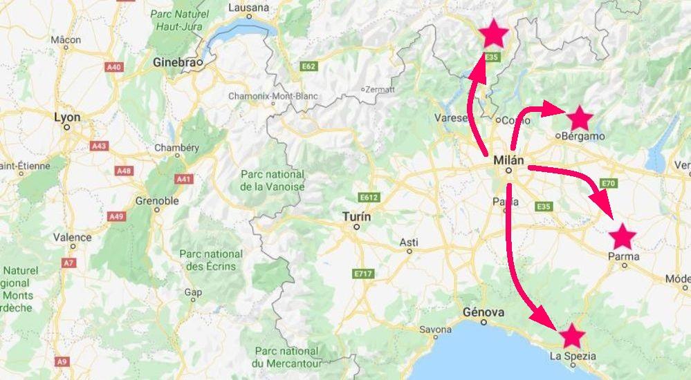 Mapa de las excursiones desde Milán a otros lugares impresionantes cerca de la ciudad.