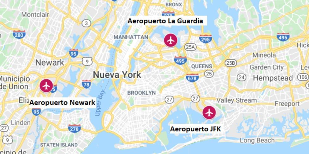 Mapa con la ubicación de los aeropuertos de Nueva York