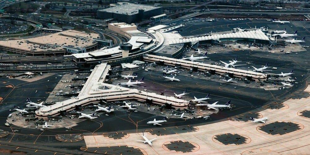 Vista panorámica desde las alturas del aeropuerto de Newark