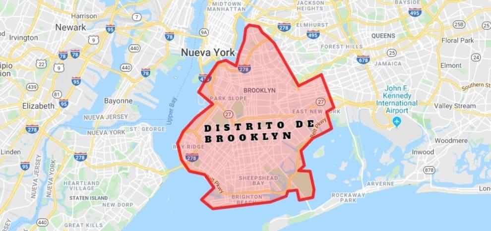 Mapa del distrito de Brooklyn en Nueva York