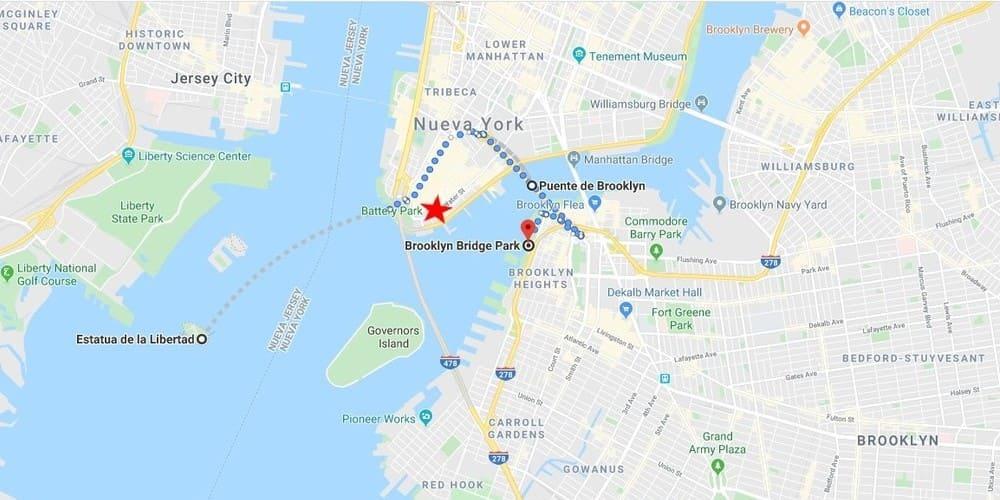 Ruta para ver la Estatua de la Libertad y Brooklyn en un día.