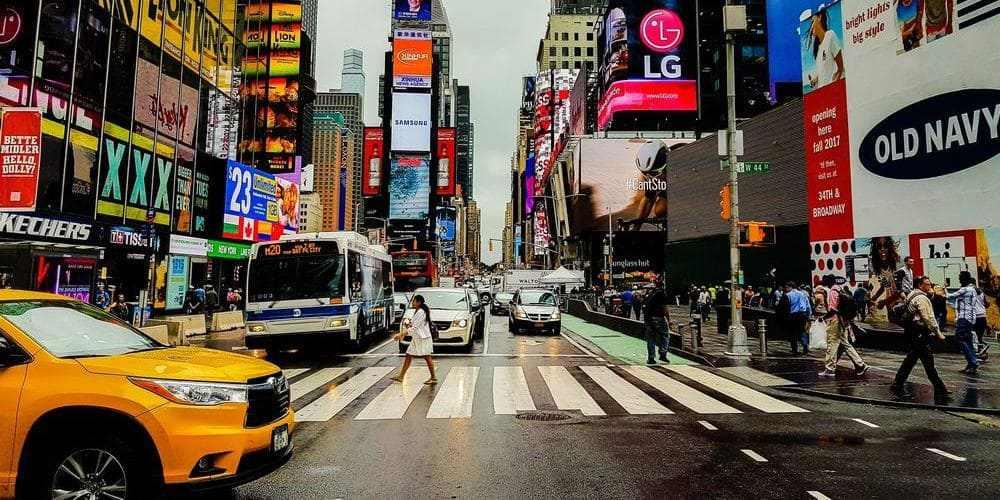 Taxi en Times Square en Nueva York.