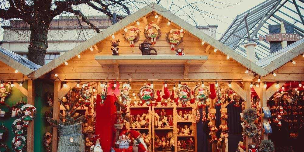 Puesto en un mercado navideño de Nueva York.
