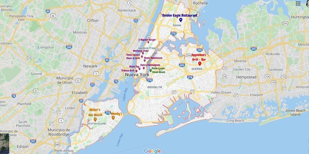 Mapa de los restaurantes con mejor valoracion y comida típica de New york