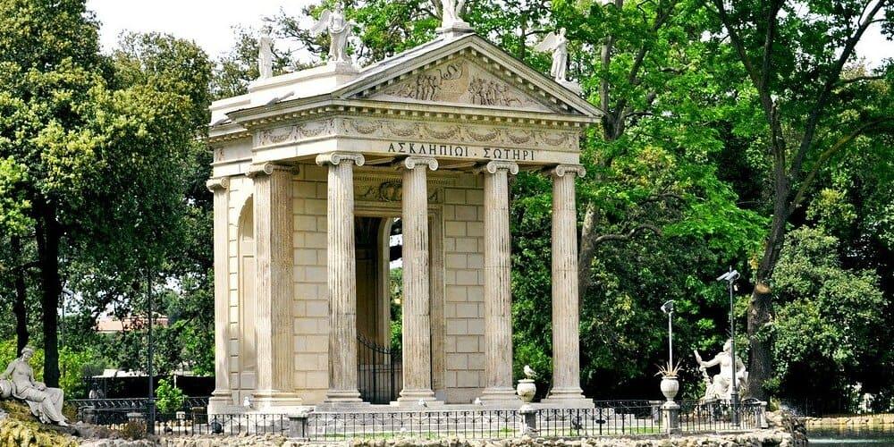 Monumento en la Villa Borghese de Roma