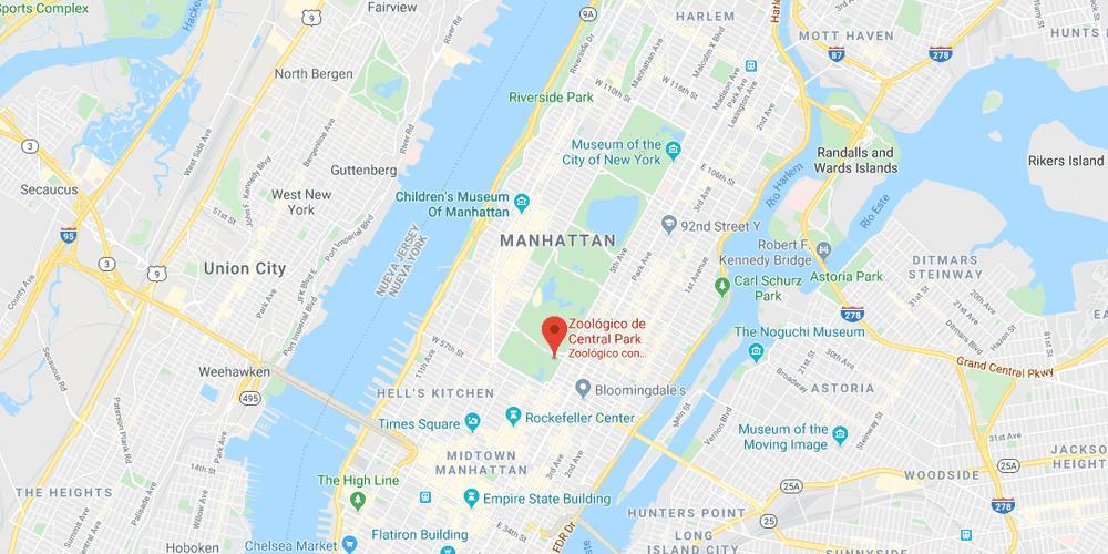 Mapa para situar el zoo en Central Park en Nueva York.