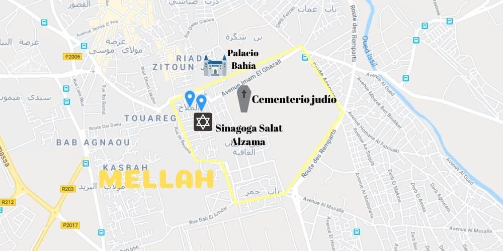 Mapa de las ubicaciones importantes en Mellah