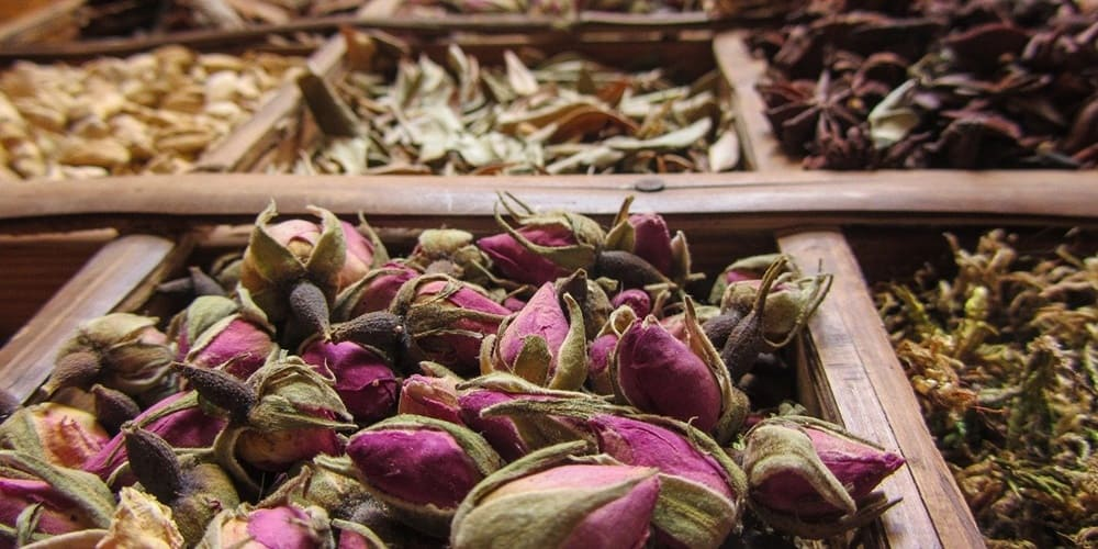 Mercado de las especias del barrio judio de Marrakech
