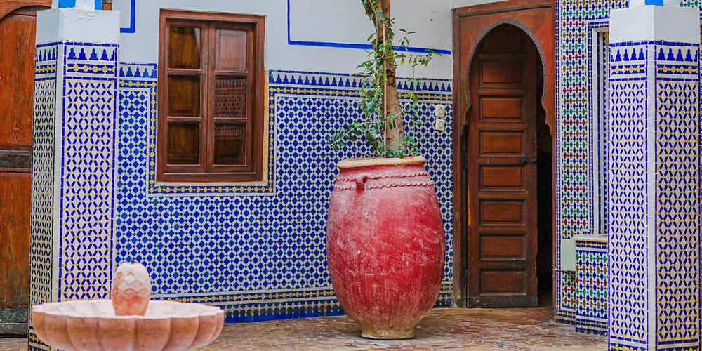 Sinagoga de la juderia en la ciudad de Marruecos, que se encuentra en el barrio judío