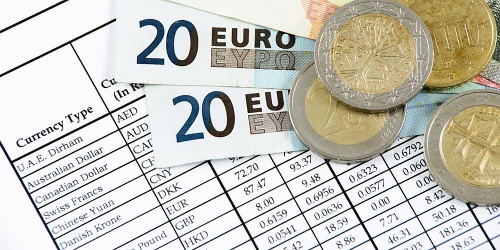 Tabla del tipo de cambio del Euro a otras monedas
