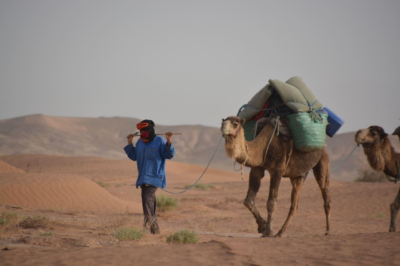 Persona dando un paseo en camello en Marrakech