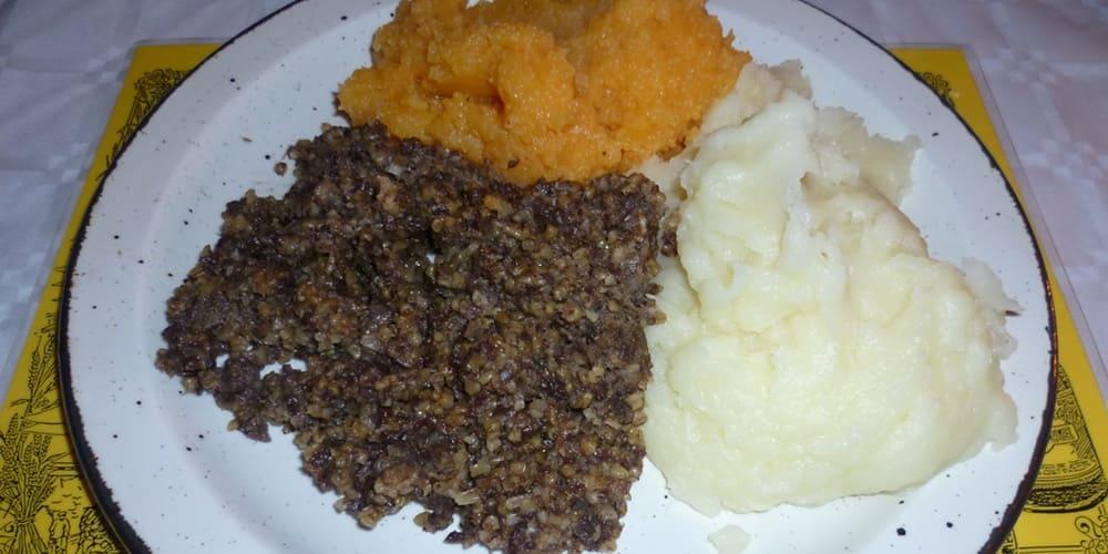 Haggis, comida tipica escocesa en Edimburgo