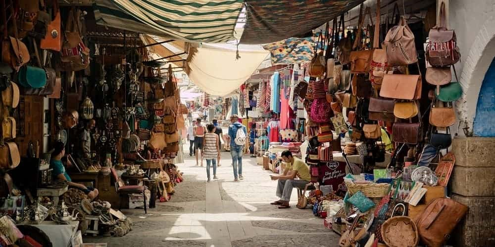 El zoco de la Ciudad Roja de Marruecos