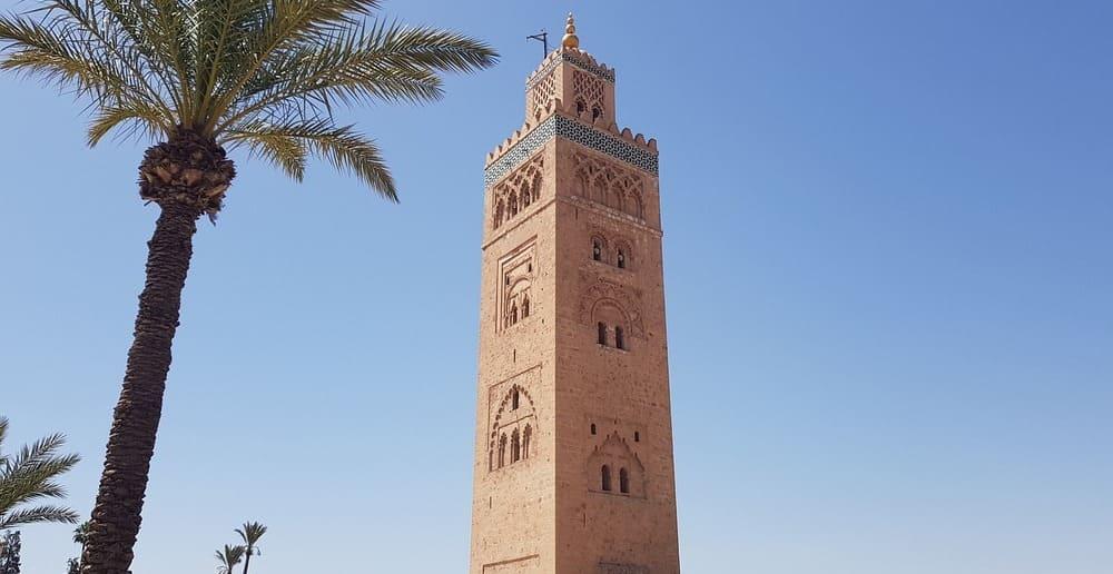 Alminar de la mezquita de Koutoubia en la Ciudad Roja