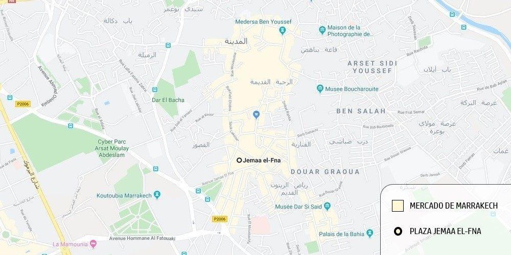 Plano del mercado de Marrakech y la plaza Jemaa El-Fna.