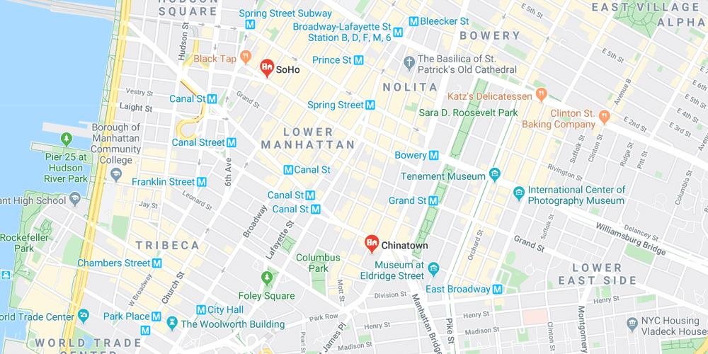 Mapa de Chinatown y Soho