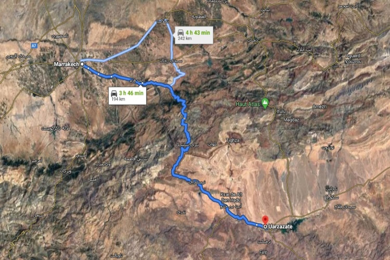 Que ver en Ouarzazate: distancia en el mapa