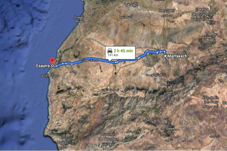 Mapa de la ruta desde Marrakech a Essaouira