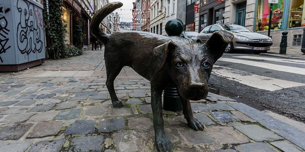 Version canina del Manneken Pis de Bruselas