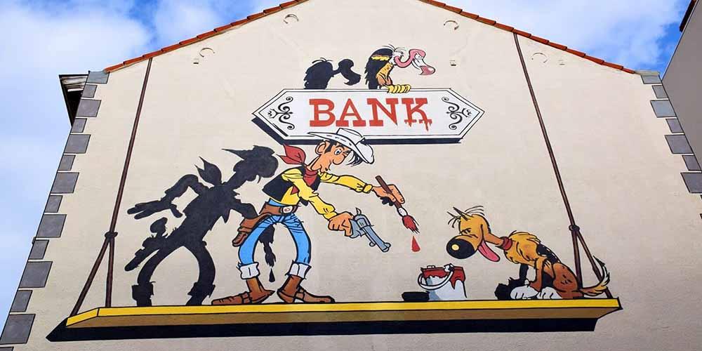 Ruta del cómic. Un mural dedicado a Lucky Luke.