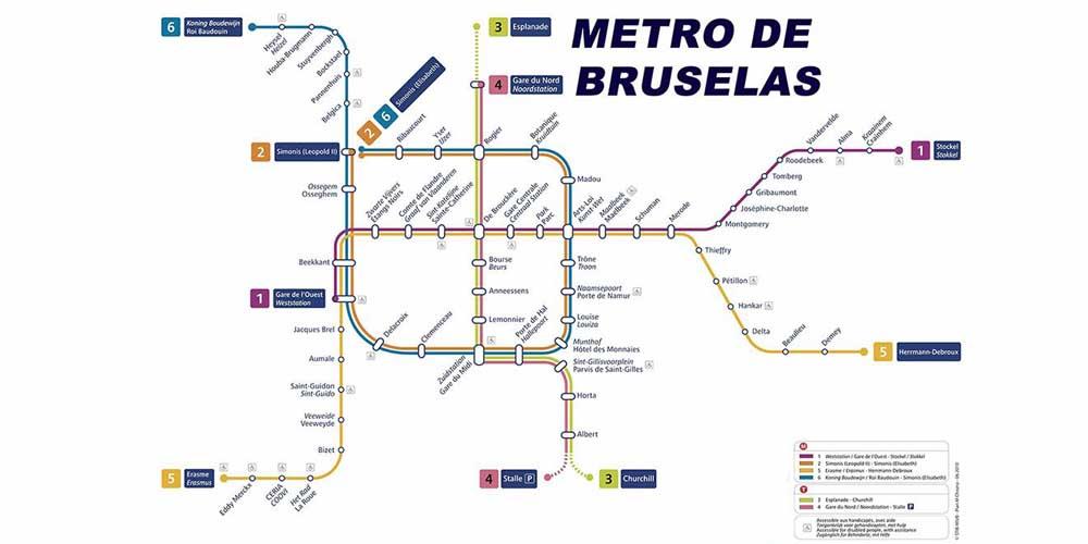 Plano del transporte público en Bruselas: paradas y líneas de metro.