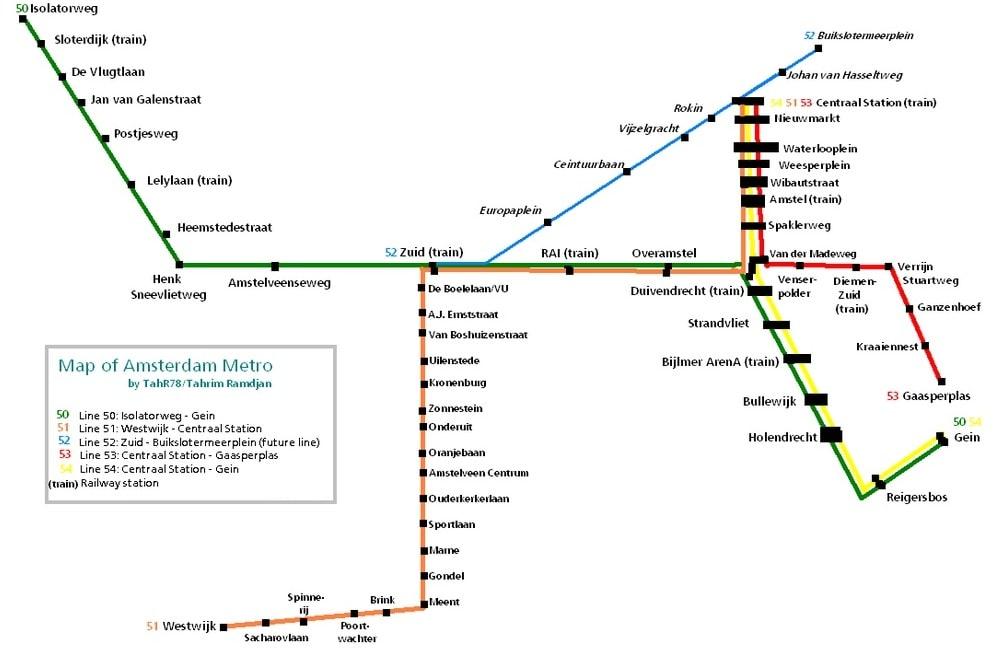 El mapa del metro de Ámsterdam