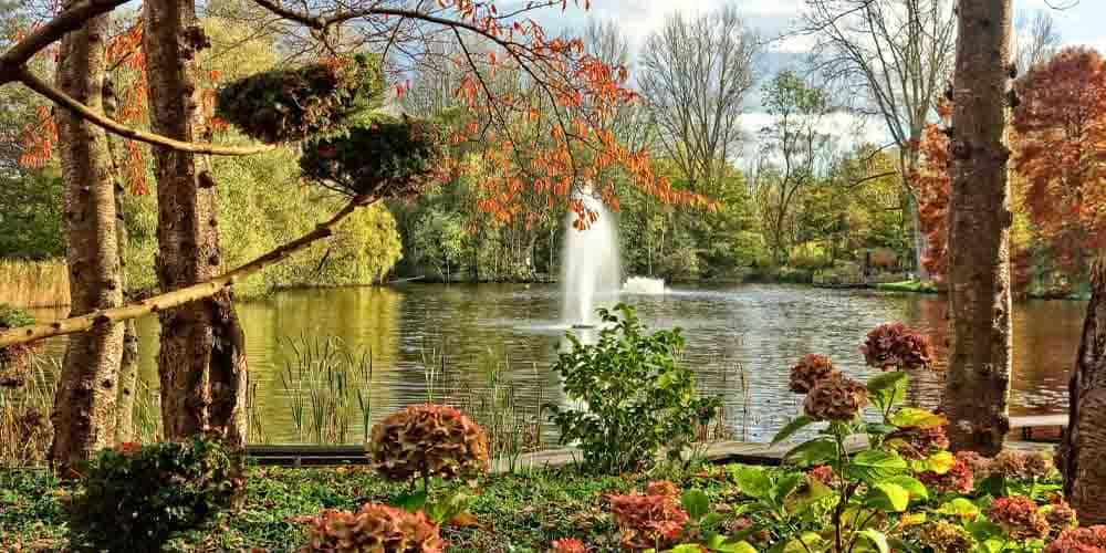 El lago y la fuente de Amstelpark en Ámsterdam rodeado de vegetación.